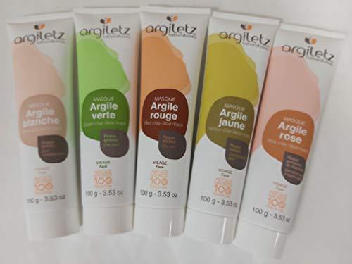 Masques à l'argile - Lot de 5 tubes de 100 gr - Masques Argiletz - Argiles de couleurs - Argile blanche, jaune, verte, rouge et rose - Soin de la peau - ARCILIA -