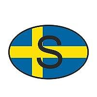 Jinling スウェーデンの国番号楕円形の国旗車のステッカーヘルメットのオートバイの装飾 (Color : 1)