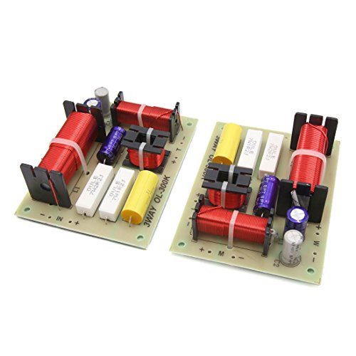sourcing map Crossover Filtres 3 Voies Diviseur Fréquence 2pcs Haut Parleur Audio pour Amplificateur 180W