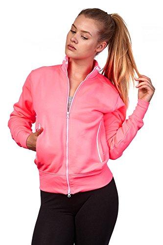 Happy Clothing Damen Sweatjacke mit Reißverschluss und Kragen ohne Kapuze im sportlichen Design, Elegante Jacke aus Baumwolle für Sport und Freizeit, Größe:L, Farbe:Neonpink