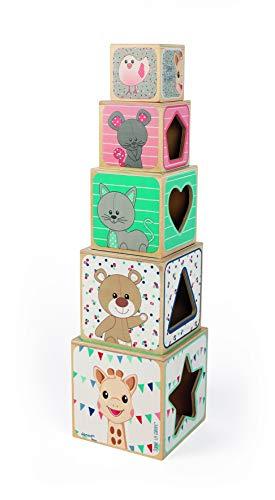 Janod- Pirámide de 5 Cubos Sophie la Girafe (Madera), Multicolor (Juratoys J09503)