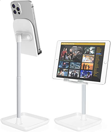 Cell Phone Stand for Desk,Height Angle Adjustable Phone Stand,Deep Dream Case Friendly Desktop Sturdy Aluminum Metal Phone Holder Stand,Compatible with iPhone/iPad/Kindle/All Mobile Phones,4-10.9in