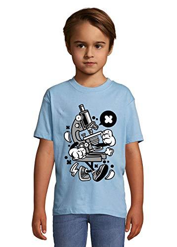 Cartoon stijl microscoop wetenschap biologie kunst kind bemanning hals T-Shirt