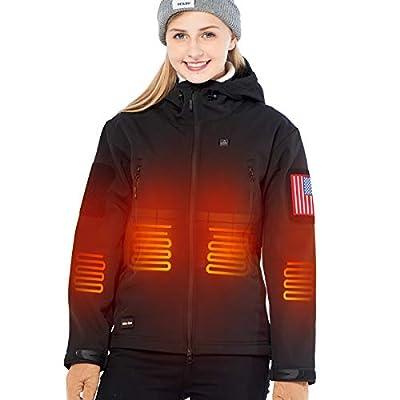 DEWBU Heated Jacket with 7.4V Battery for Women Soft Shell Heating Jacket,Women's Black,Medium