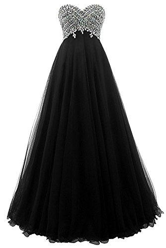 Damen Elegant Abendkleider A-Linie Lang Ärmellos Tülle Ballkleider Spitzenkleider Brautjungfern Hochzeit Partykleider Schwarz 38