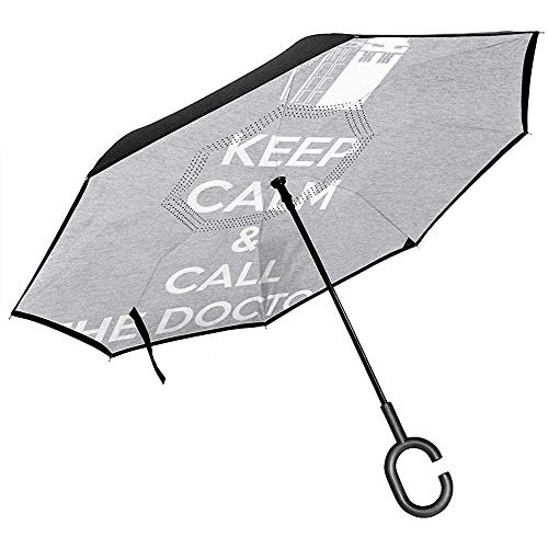 Blijf kalm en bel de dokter die omgedraaide paraplu voor auto vouwen ondersteboven C gevormde handen lichtgewicht winddicht ideaal geschenk