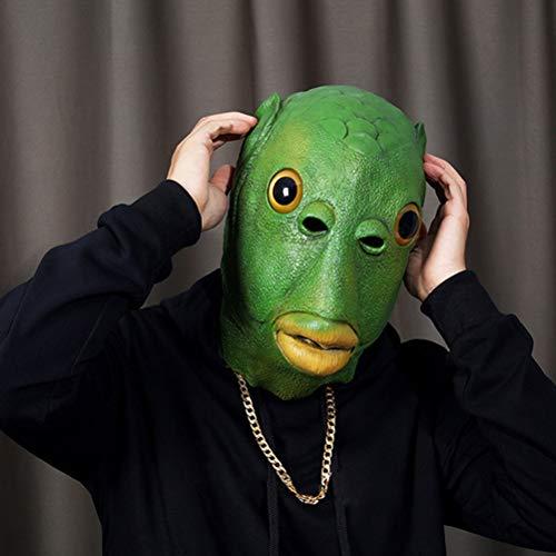 Zhangpu Mscara facial de ltex con forma de animal y pez, mscara de ltex verde para adultos, mscara mgica para disfraz, disfraz de Halloween