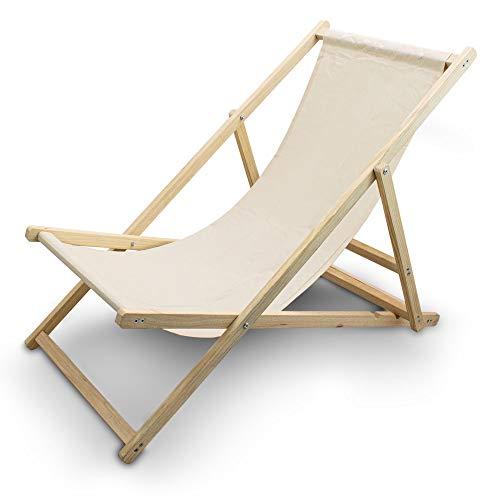 BITUXX Liegestuhl Sonnenliege Gartenliege Holzliege Strandliegestuhl Holz Klappbar (Beige)