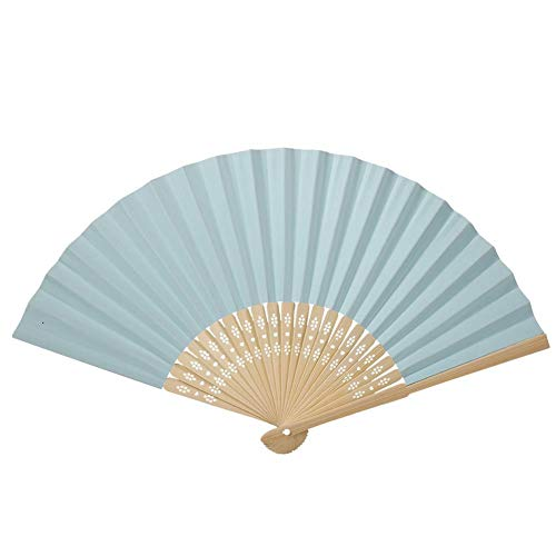 AUNMAS Ventaglio di Carta Pieghevole Vari Colori Ventaglio di bambù Pieghevole Cinese Ventaglio di Carta Bianco Fai-da-Te Decorazione da Doccia per Matrimonio(Azzurro)