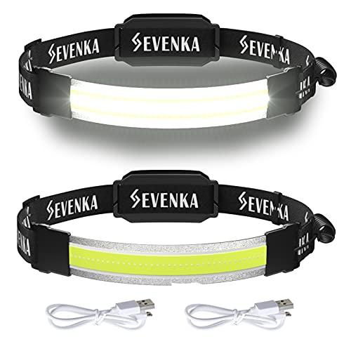 2 Rechargeable Headlamps, SEVENKA Bright LED Headlamp Flashlight, Wide Beam Headband Light, 210° Illumination, 500 Lumen, 3.8oz Lightweight Head Lamp for Camping, Running, Hiking, Hard Hat Headlight
