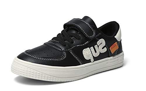 INMINPIN Kids'Casual Sneakers Boys GirlsComfort LightweightTennis ShoesFashion Soft Outdoor Walking Shoes,Black/White,9 Toddler