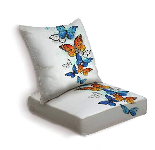 2-Piece Outdoor Deep Seat Cushion Set Flying bright blue morpho and orange monarch butterfly on white Back Seat Lounge Chair Conversation Cushion for Patio Furniture Replacement Seating Cushion
