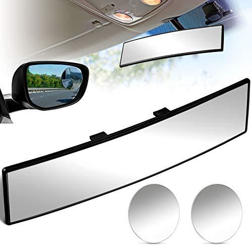 Espejo Retrovisor 300 mm Espejo Retrovisor Interior Espejo Convexo de Coche Ancho y Espejos de Punto Ciego Espejos Retrovisores Redondos Convexos para Mayoría de Automóviles (Transparente)