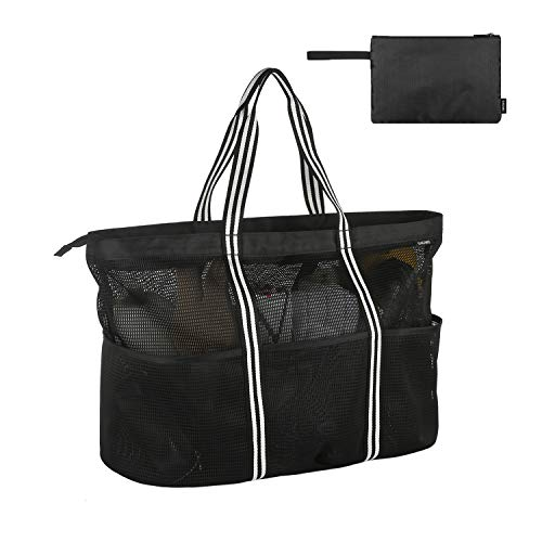 GAGAKU Extra Groß Strandtasche Shopper Faltbare Badetasche Familie Netztasche Reisetasche für Damen