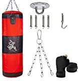 Heavy Punching Bag Set Unfilled, Hanging Boxing Kickboxing Bag Punching Bags for Adult Kid Women, Youth Boxing Set with Hand Wraps, Hanging Chains & Hook, Training for MMA Muay Thai Karate Taekwondo