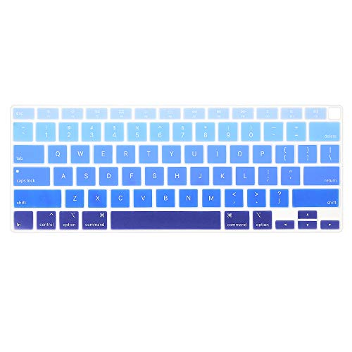 ProElife Ultra Thin Silicone Keyboard Cover Skin for MacBook Air 13 Inch 2020 with Touch ID (MODLE A2179 and A2337 Apple M1 Chip, US Layout) Keyboard Accessories Protector (Ombre Blue)