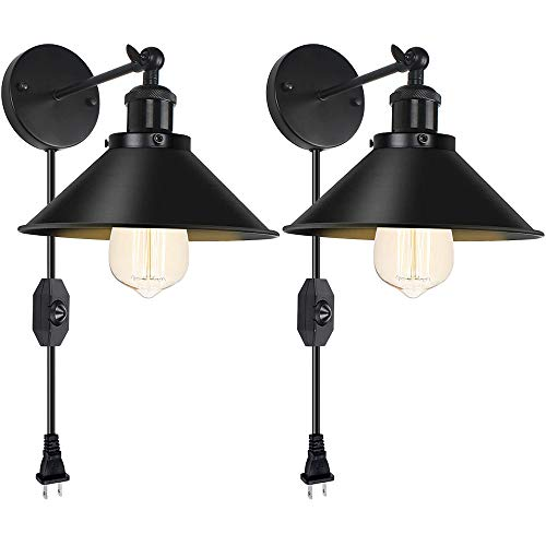 Dimmable Plug in Wall Sconce 2 Pack Swing Arm Vintage Black Wall Lamp with On/Off Switch Industrial Wall Light with 6FT Plug in Cord Wall Light Fixture for Restaurant Bedroom Corridor Farmhouse