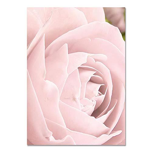 U/N Carteles e Impresiones nórdicos de Plantas Naturales de peonía Rosa Flor Rosada, Cuadros artísticos en Lienzo para Pared, Cuadros para el Dormitorio del hogar-9