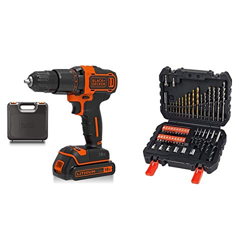 BLACK+DECKER 18 V Cordless 2-Gear Combi Hammer Drill Power Tool with Kitbox, 1.5 Ah Lithium-Ion, BCD700S1K-GB with Black + Decker A7188 Drill and Screwdriver Bit Set 50-Piece