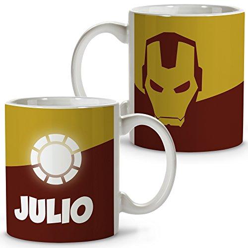 Taza Superhéroes Personalizada con Nombre. Regalo Friki. Varios Diseños y Colores Interior. Ironman