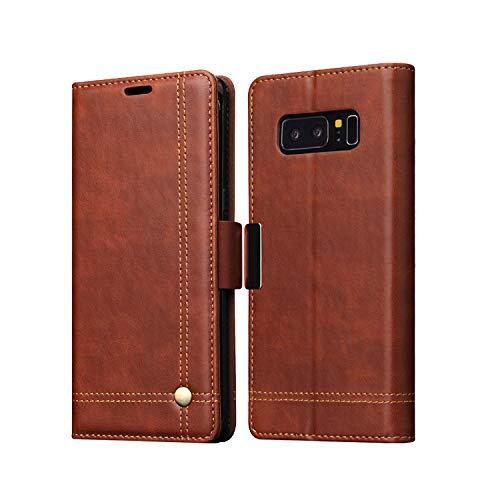 Samsung Galaxy Note8 ケース 手帳型 レザー カバー カード収納付き 上質で高級PUレザー ギャラクシー ノート8 手帳タイプ レザーケース おしゃれ アンドロイド スマホケース (レッド)