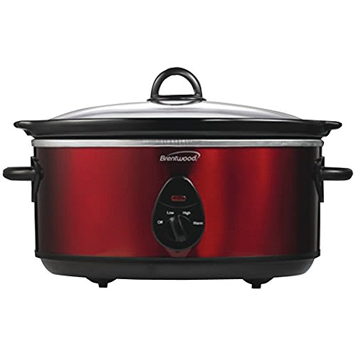 Brentwood Appliances SC-150R 6.5 Quart Slow Cooker, 14.40in. x 14.30in. x 9.30in, Red Tone