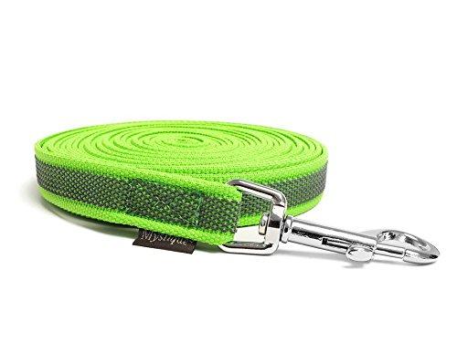 Mystique® Gummierte Schleppleine 12mm mit Handschlaufe Standard Karabiner neon grün 10m
