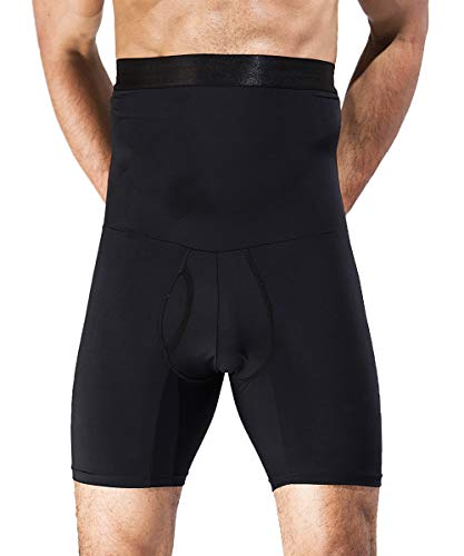 QUAFORT Men Tummy Control Shorts High Waist Slimming Shapewear Body Shaper Leg Underwear Briefs Black