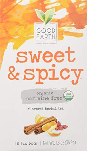 Good Earth Teas Organic Sweet and Spicy Herbal Caffeine Free Tea Bag, 18 Count (00979831)