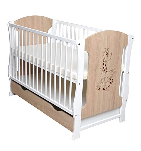 Kinderbett Juniorbett Gitterbett Kleinkindbett Bett mit Schublade 120x60cm Motiv Giraffe inkl. Matratze Neu