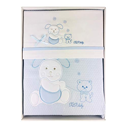 Nada Home 2912 Parure de lit 4 pièces en coton brodé avec couverture Lettino bleu ciel