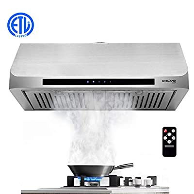 "30"" Built-in Range Hood, GASLAND Chef UC30SS Stainless Steel Under Cabinet Range Hood, 3 Speed 450 CFM, Touch Screen Remote Control, Dishwasher Safe Baffle Filters, LED Lamps"
