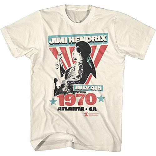 Jimi Hendrix Musician 4 luglio 1970 Atlanta Georgia Concert Vintage Effetto Distressed Adult T-Shirt Manica Corta Bianco sporco M