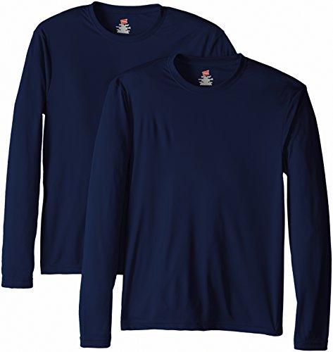 Hanes Men's Long Sleeve Cool Dri T-Shirt UPF 50+, X-Large, 2 Pack ,Navy