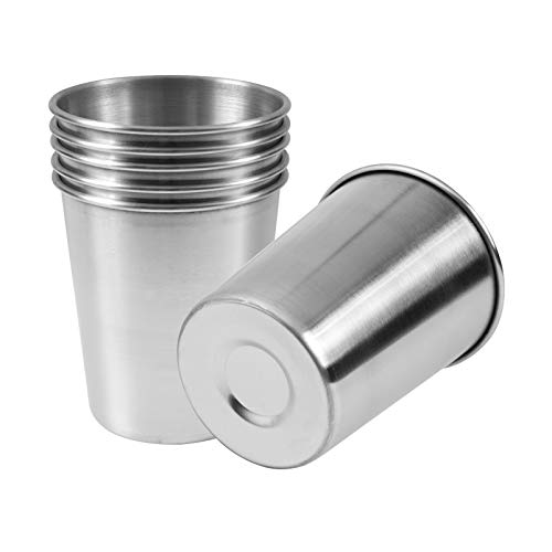 EVERMARKET 6 Pack 8 Ounce 230ml Stainless Steel Cups Shatterproof Pint Drinking Cups Metal Drinking...