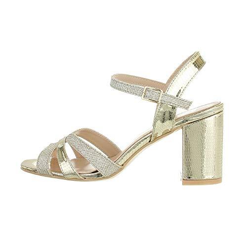 Ital Design Damenschuhe Sandalen & Sandaletten High-Heel Sandaletten, WA172-, Kunstleder, Gold, Gr. 41