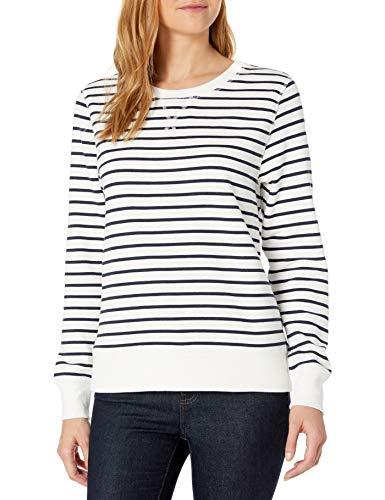 Amazon Essentials French Terry Fleece Crewneck athletic-sweatshirts, weiß gestreift, XXL