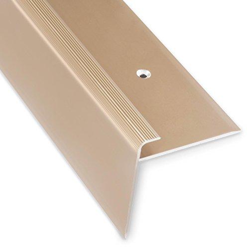 Treppenkantenprofil Safety | elegant gold | F-Form | 53mm Höhe mit einer Einfasshöhe von 7-8mm | Erhältlich in 4 Farben und 3 Längen (90cm)
