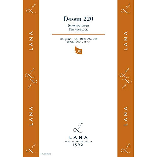 Lana DESSIN Zeichenpapier, 30 Blatt, 220g, DIN A4