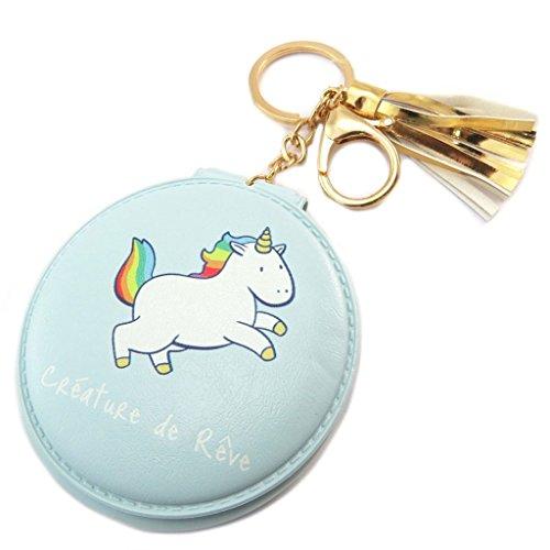 Les Trésors De Lily [P5393] - Miroir de poche 'Licorne My Unicorn' bleu (Créature de Rêve) - 8 cm