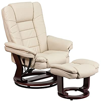 Flash Furniture Contemporary Black Leather Recliner/Ottoman with Swiveling Mahogany Wood Base