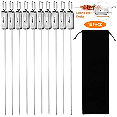 2020 Barbecue Skewers, 17 Inch Long Stainless Steel Flat BBQ Kabob Skewer with Buckle, Reusable Grilling Sticks Set Shish Kebab Needles for Outdoor Camping, Cooking Tools (10 Pcs, 1 Storage Bag)