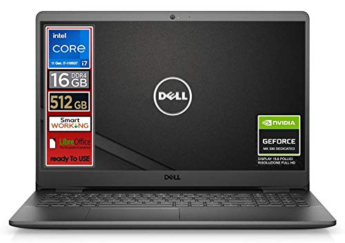 Notebook Dell, Cpu Intel i7 di 11 Gen. 4 core fino a 4,7 GHz, Display 15,6' FullHd, SSD nvme 512 Gb, 16Gb DDR4, Win10 Pro, Svga MX 330 2gb, wi-fi, 4usb, lan, Pronto All'uso, Garanzia e layout Italia