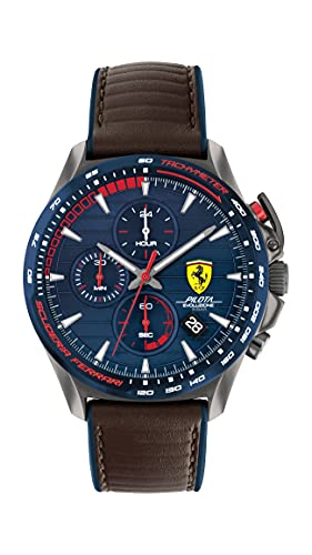 Ferrari Men's Stainless Steel Quartz Watch with Leather Strap, Brown, 22 (Model: 0830848)