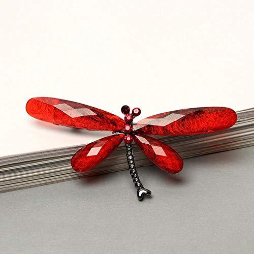 Ningb Pull Vintage Cristal Insecte Broche Broches 12 Couleurs Costume D'affaires De Mode Résine Libellule Broches Écharpe Jupe 1 PC Animal Chapeau, Rouge