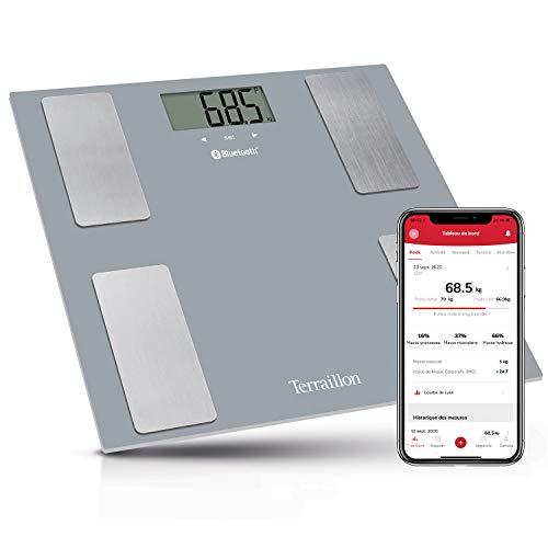 Terraillon Smart Connect - Báscula inteligente (Bluetooth, con análisis de la composición corporal, peso e IMC, báscula persona, anómetro, hasta 8 usuarios)