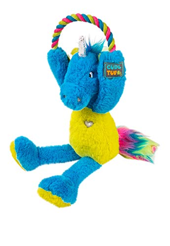 CudlTuf Large Magic Unicorn Dog Toy Cute Squeaky Heavy Duty Soft Plush Toy - Good for a Puppy, Small, Medium or Big Aggressive chewers. Durable Fun Stuffed Dog Toy with tug Rope and Crinkle Liner