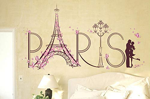 Naldesa Love Paris Wandsticker Schmetterlinge Eifelturm Wandtattoo Wandaufkleber Sticker