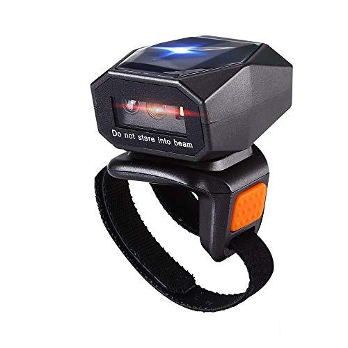 Eyoyo Barcode Scanner Bluetooth,Barcodeleser Wireless 2.4GHz mit USB-Kabel 2D 1D QR Barcodes Bildschirm Scannen Unterstützt Wearable Ringscanner Laser für iPad,Smartphone, PC