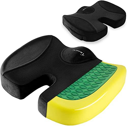 Tusscle Sitzkissen, Sitzring fürBürostuhl & Auto, Memory Foam Gelkissen für Autositz & Rollstuhl